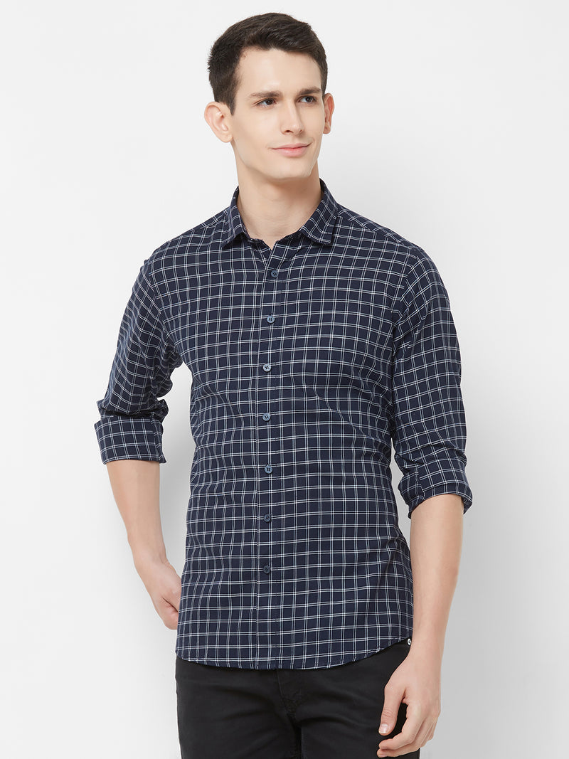 Check-Mate - EVOQ Men's 100% Pure Superior Cotton Blue Checkered Full Sleeves Casual Shirt