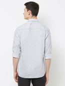 Grey Skies - EVOQ Men's 100% Pure Superior Cotton Grey and White Printed Full Sleeves Casual Shirt - EVOQ