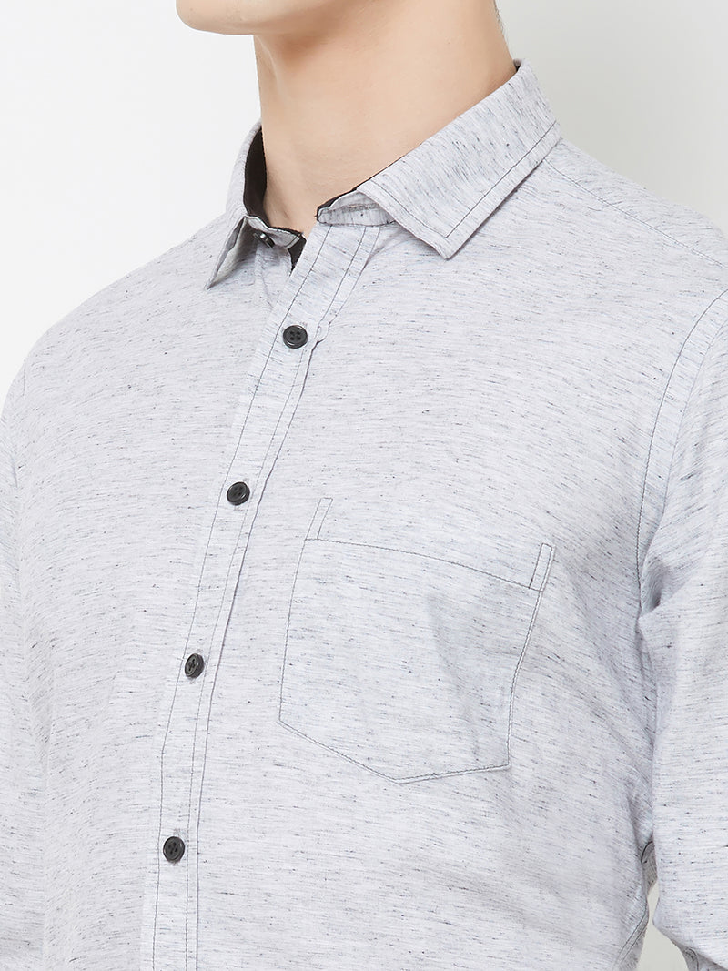 Grey Skies - EVOQ Men's 100% Pure Superior Cotton Grey and White Printed Full Sleeves Casual Shirt