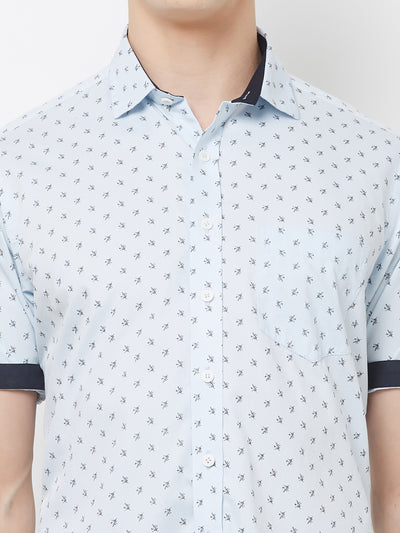 Blue Muffin - EVOQ Men's 100% Pure Superior Cotton Sky Blue Printed Half Sleeves Casual Shirt - EVOQ