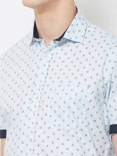 Blue Muffin - EVOQ Men's 100% Pure Superior Cotton Sky Blue Printed Half Sleeves Casual Shirt