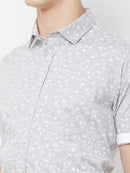 Silver Frosting - EVOQ Men's 100% Pure Superior Cotton Grey Printed Half Sleeves Casual Shirt - EVOQ