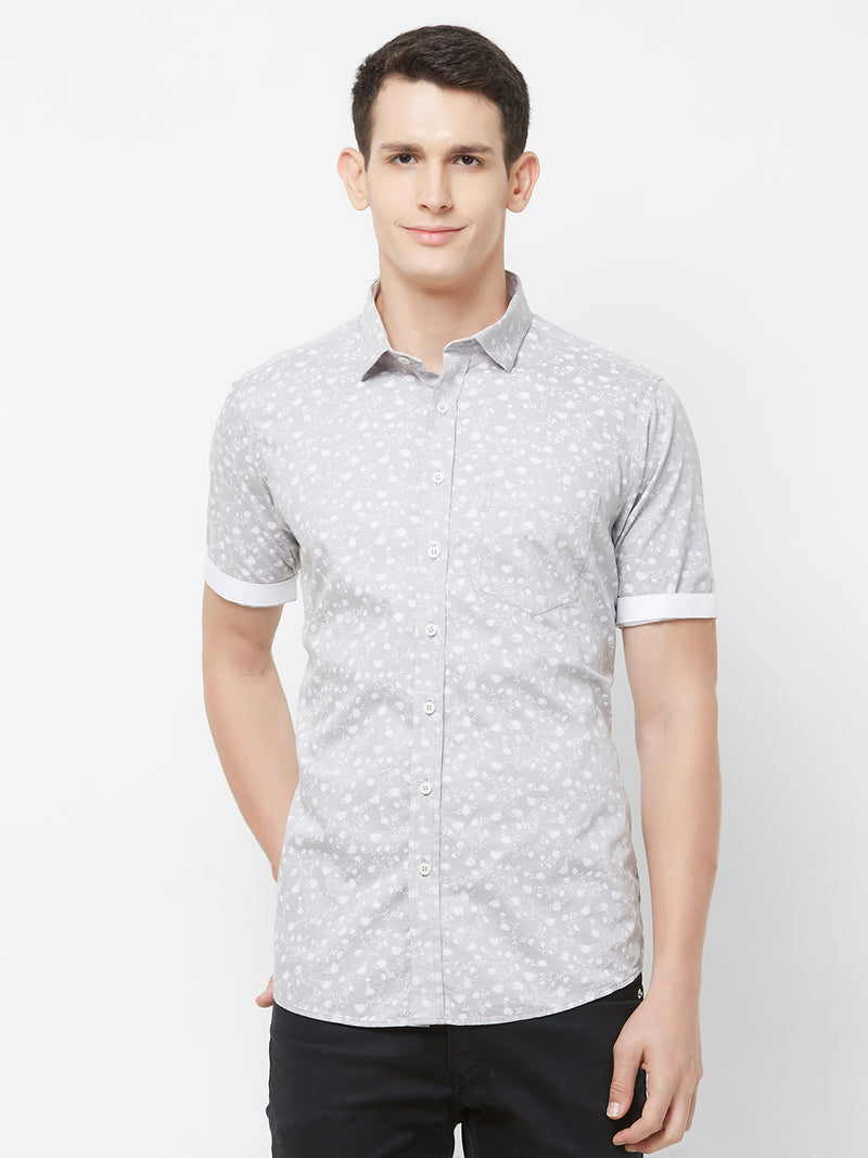 Silver Frosting - EVOQ Men's 100% Pure Superior Cotton Grey Printed Half Sleeves Casual Shirt