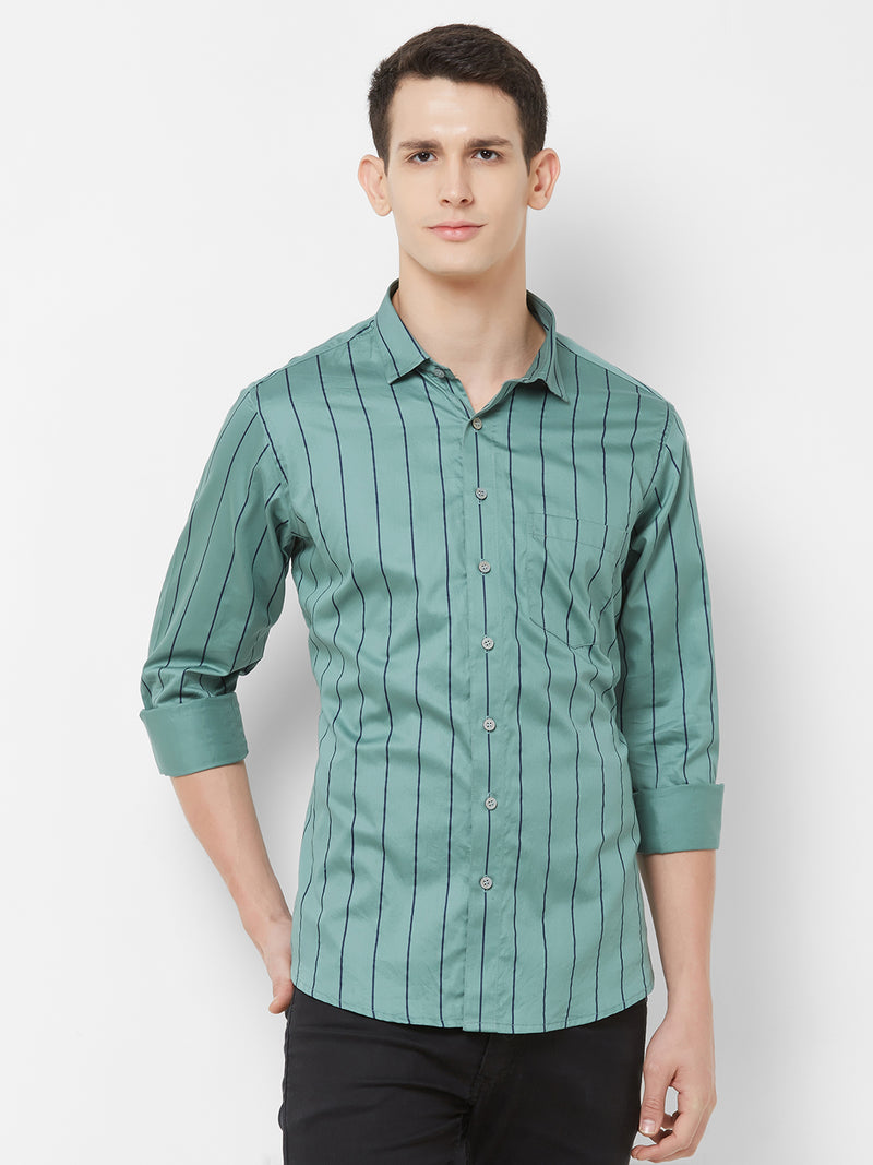 Army Stripes - EVOQ Men's 100% Pure Superior Cotton Green and Blue Pinstripes Full Sleeves Casual Shirt