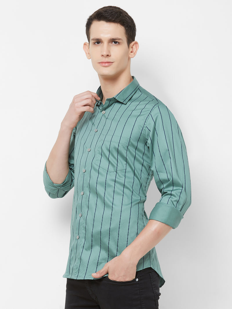 Army Stripes - EVOQ Men's 100% Pure Superior Cotton Green and Blue Pinstripes Full Sleeves Casual Shirt - EVOQ