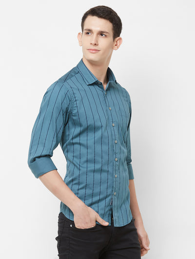 Navy Stripes - EVOQ Men's 100% Pure Superior Cotton Navy Blue Pinstripes Full Sleeves Casual Shirt - EVOQ
