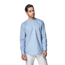 Scandinavian Skies - Sky Blue Cotton Linen Full Sleeve Stylized Mandarin Collar Shirt with Patch and Two Side Pockets - EVOQ