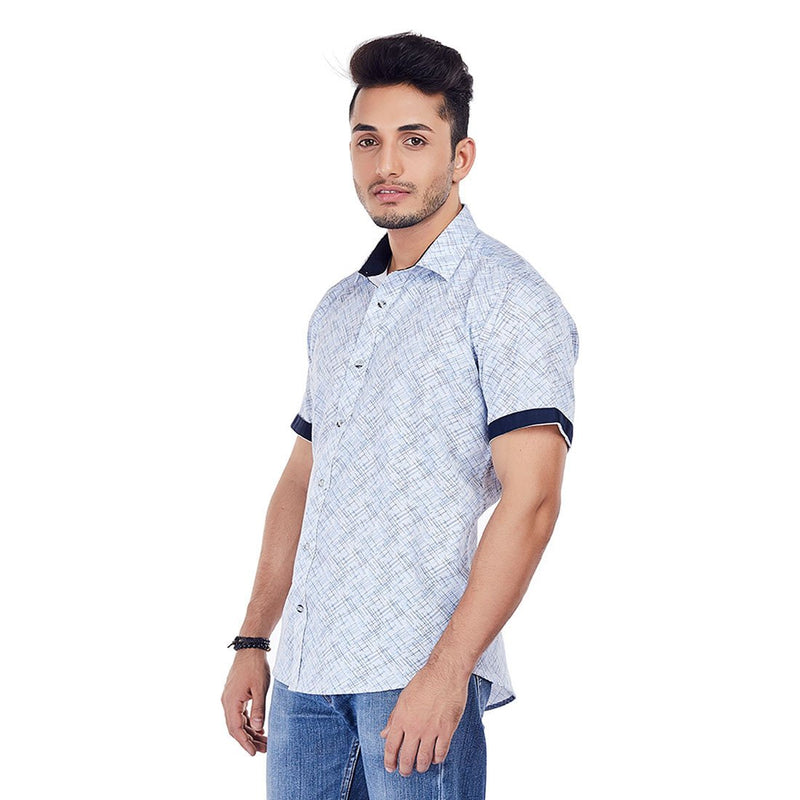 Scratch Attack - Blue and White Printed Cotton Casual Wear Shirt, Shirts, EVOQ, EVOQ - evoqstyle.com