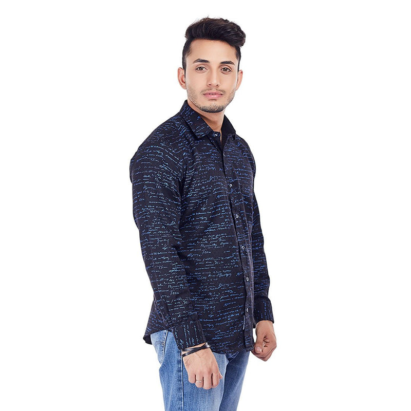 Signature Shirt - Designer Black Printed Cotton Party Wear and Casual Wear Shirt, Shirts, EVOQ, EVOQ - evoqstyle.com