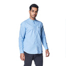Sky Sorbet - Sky Blue Cotton Linen Full Sleeve Mandarin Collar Shirt - EVOQ