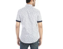 Snow-cones - White half sleeves cotton shirt with geometric shaded cone print., Shirts, EVOQ, EVOQ - evoqstyle.com