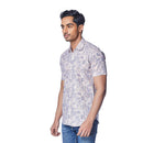 Striped Flora - White and Pink Stripped Cotton Linen Printed Half Sleeve Spread Collar Shirt - EVOQ