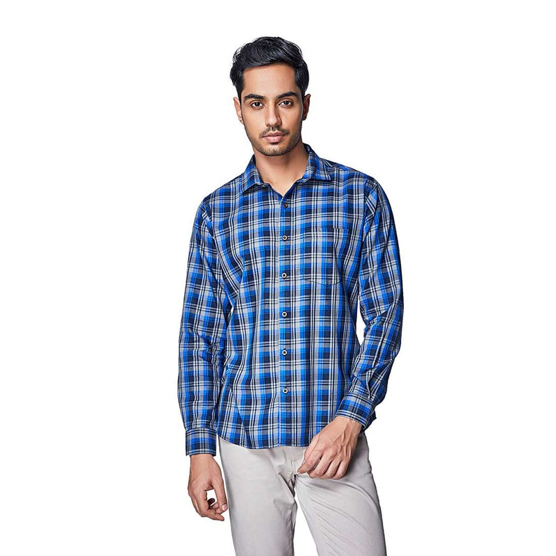 Summer Blues - Two Toned Blue Cotton Chequered Full Sleeve Spread Collar Shirt, Shirts, EVOQ, EVOQ - evoqstyle.com