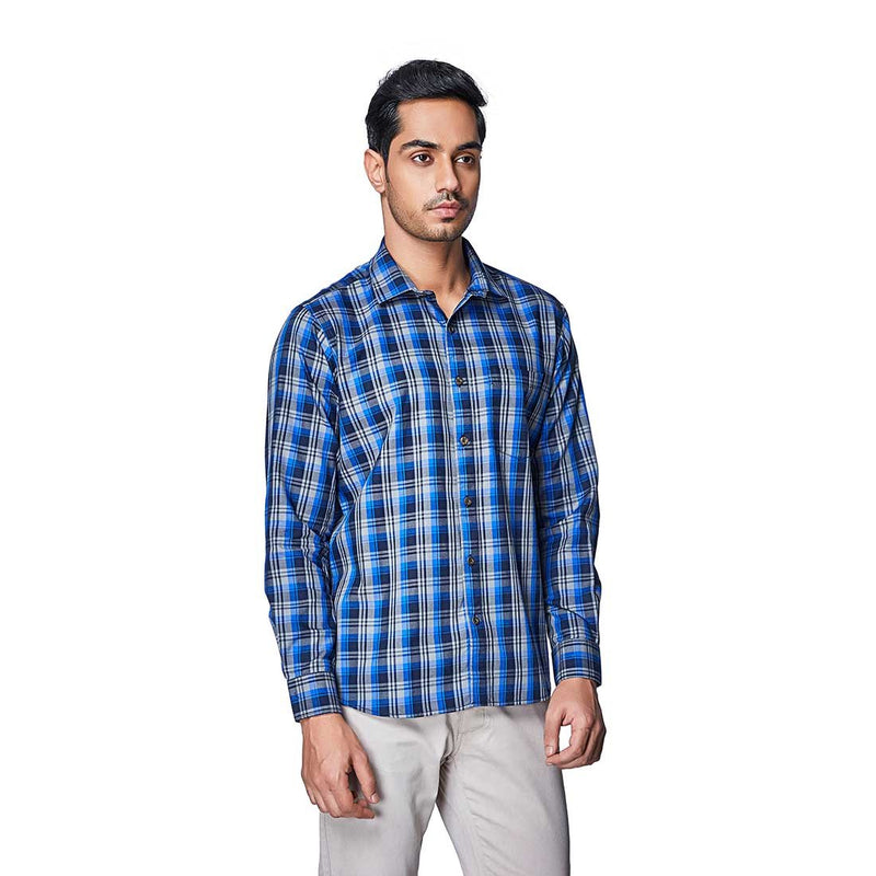Summer Blues - Two Toned Blue Cotton Chequered Full Sleeve Spread Collar Shirt - EVOQ