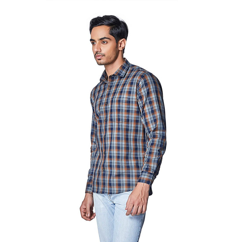 Summer Ochre - Two Toned Brown Cotton Checks Full Sleeve Spread Collar Shirt - EVOQ