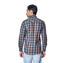 Summer Ochre - Two Toned Brown Cotton Checks Full Sleeve Spread Collar Shirt, Shirts, EVOQ, EVOQ - evoqstyle.com