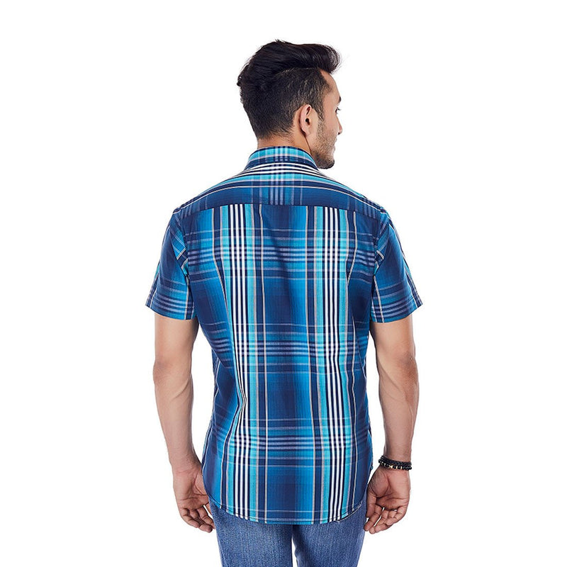 Teal Tales - Superior Multi-Coloured Cotton Checkered Formal Wear and Casual Wear Shirt, Shirts, EVOQ, EVOQ - evoqstyle.com