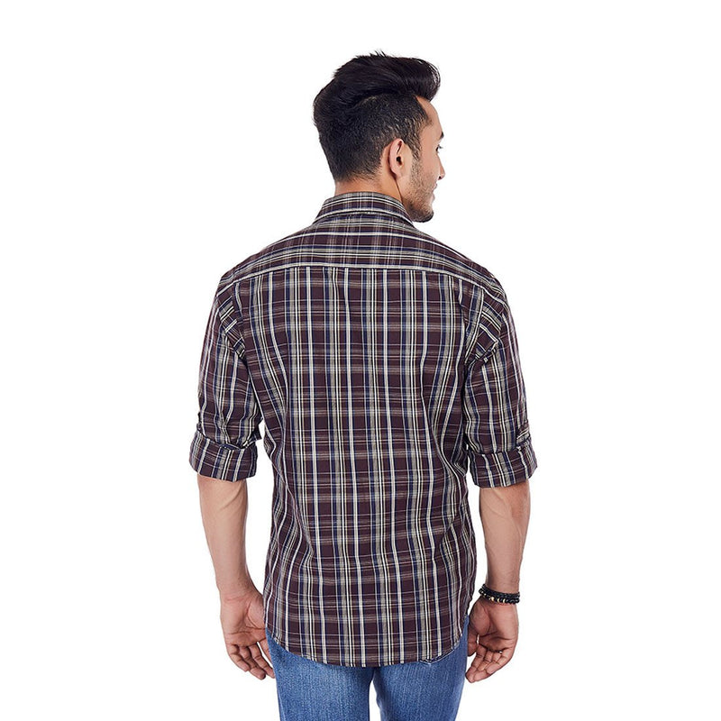 The Mud Pie - Brown Color Checkered Cotton Formal Wear and Casual Wear Shirt, Shirts, EVOQ, EVOQ - evoqstyle.com