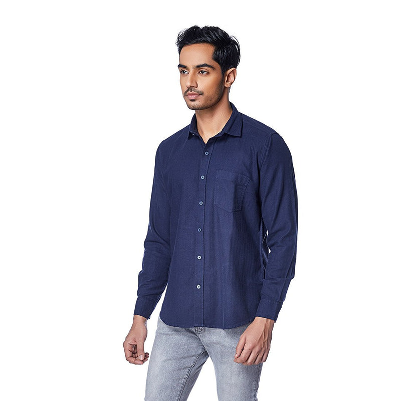 The Navy Seal - Full Sleeves Navy Blue Brushed Cotton Shirt, Shirts, EVOQ, EVOQ - evoqstyle.com