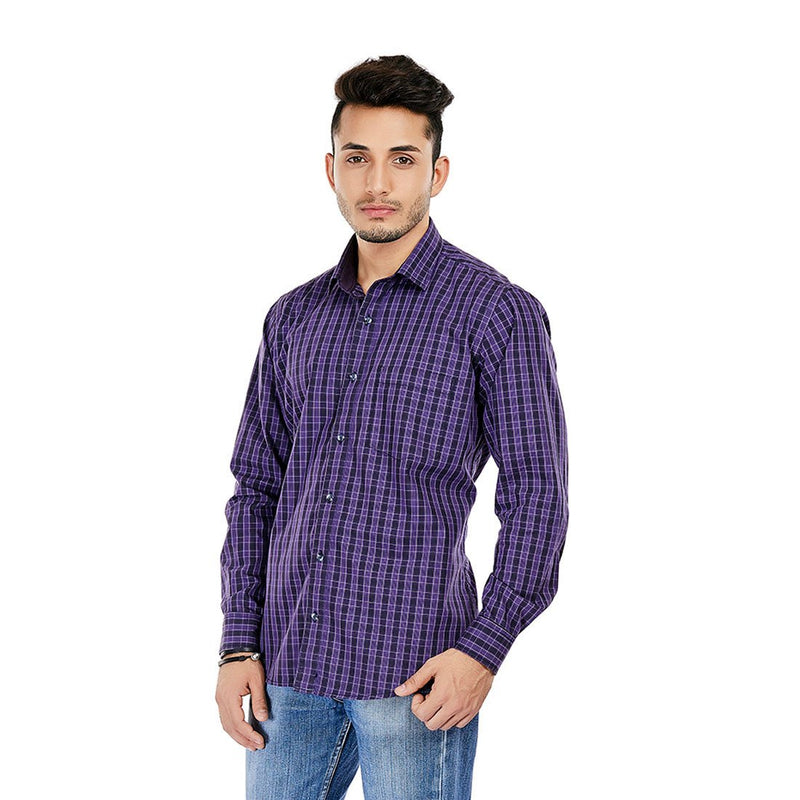 The Purple Rush - Purple Checkered Cotton Formal Wear, Casual Wear and Party Wear Shirt - EVOQ