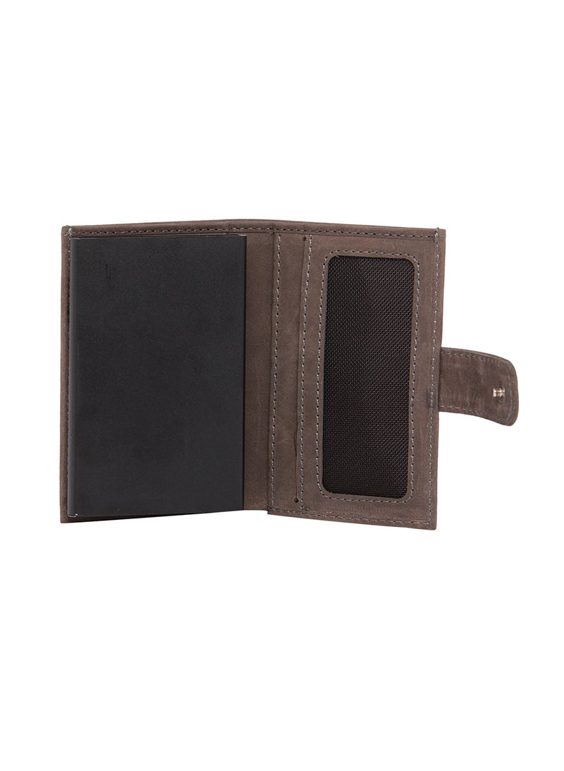 Chalked-Grey Leather Cardholder (RFID Secured) - EVOQ