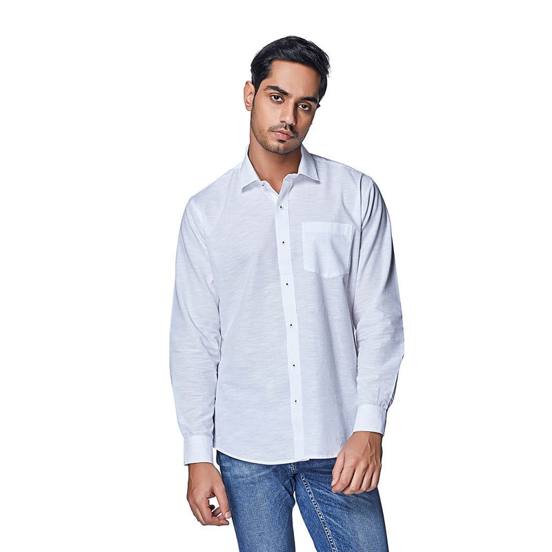 White Right - White Cotton Linen Full Sleeve Spread Collar Shirt, Shirts, EVOQ, EVOQ - evoqstyle.com