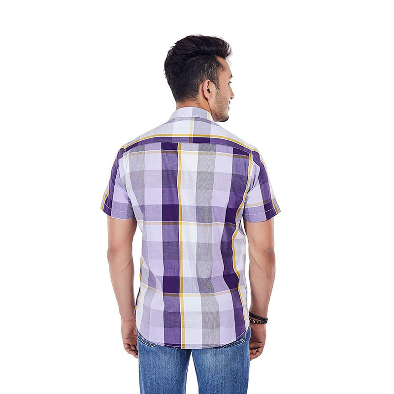 Wine Chambray - Checkered Cotton Formal Wear and Casual Wear Shirt, Shirts, EVOQ, EVOQ - evoqstyle.com