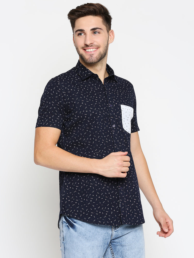 Indigo Sky - EVOQ Half Sleeves Cotton Blue Printed Semi-Casual Shirt with Stylish Pocket for Men