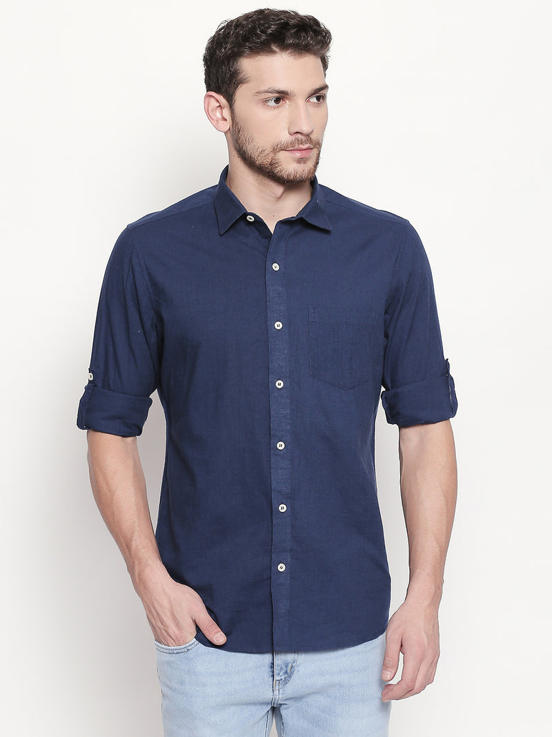 Royal Adventure - Men Solid Casual Dark Blue Cotton-Linen Full Sleeve Shirt - EVOQ