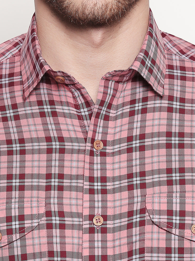 Dapper Checks - Men Checkered Casual Pink Full Sleeve Shirt - EVOQ