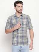 Navy Checkerboard - Men Checkered Casual Multicolor Full Sleeved Shirt - EVOQ