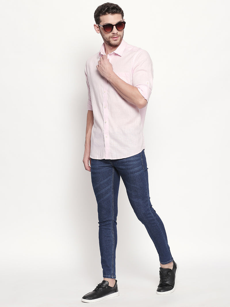 Pink Paradise - Men Solid Pink Casual Cotton-Linen Full Sleeve with Roll Up Tabs Shirt - EVOQ