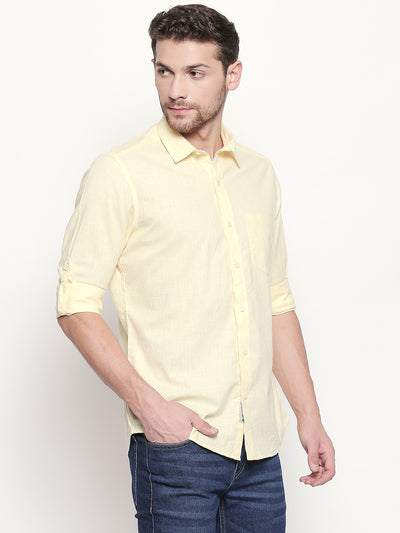 Sunny Skies - Men Solid Yellow Cotton-Line Casual Full Sleeves with Roll Up Tab Shirt - EVOQ