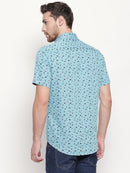 Cobalt Origami - Men Printed Casual Blue Cotton Half Sleeve Shirt - EVOQ