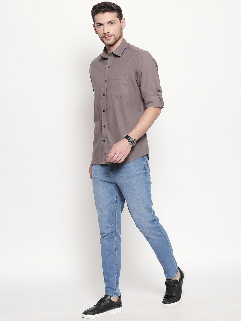 Charcoal Dreams - Men Solid Casual Grey Cotton-Linen Full Sleeve Shirt - EVOQ