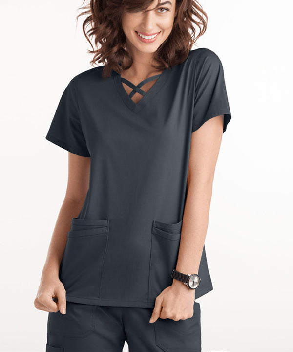 Women 4 Pocket Scrubs Criss Cross