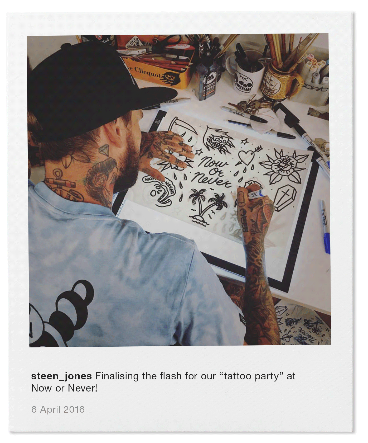 """Finalising the flash for our """"tattoo party"""" at Now or Never!"""