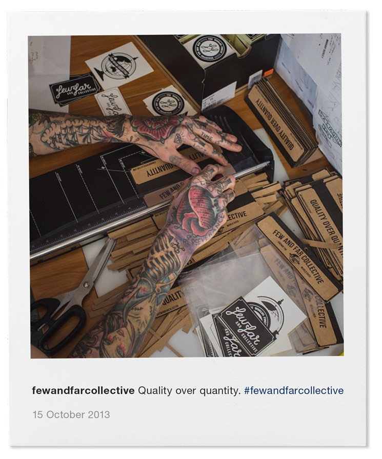 Steen Jones hand trimming header cards for the first collection release in October 2013 - Quality over Quantity