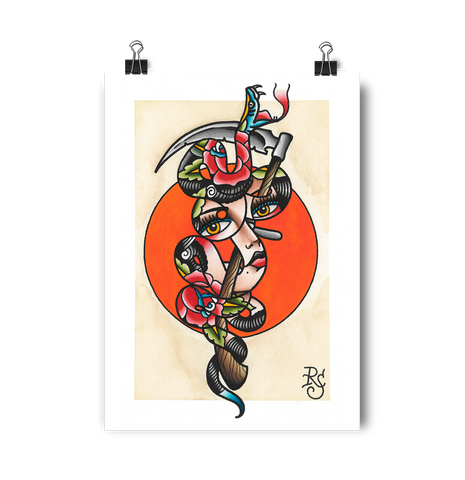'Snake Girl' Digital print by Rohan Skilton printed by Few and Far Studio for Few and Far Co.