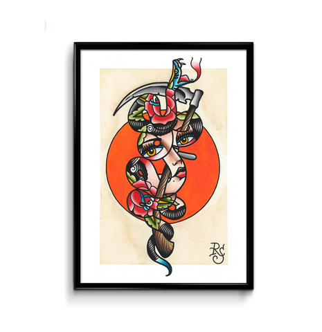 'Snake Girl' Fine Art Giclee print by Rohan Skilton printed by Few and Far Studio for Few and Far Co.