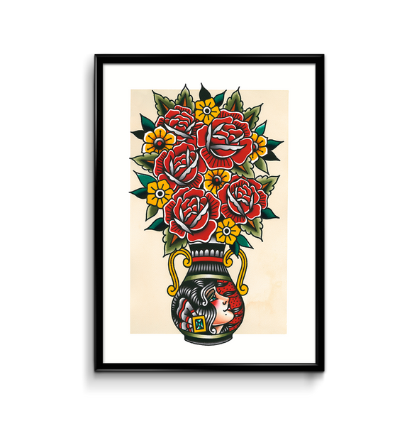'Vase Girl' Fine Art Giclee print by Rohan Skilton printed by Few and Far Studio for Few and Far Co.