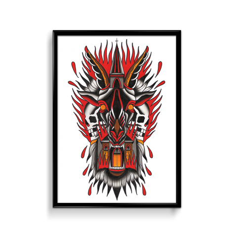 'Burning Church' Fine Art Giclee print by Shamus Mahannah printed by Few and Far Studio for Few and Far Co.