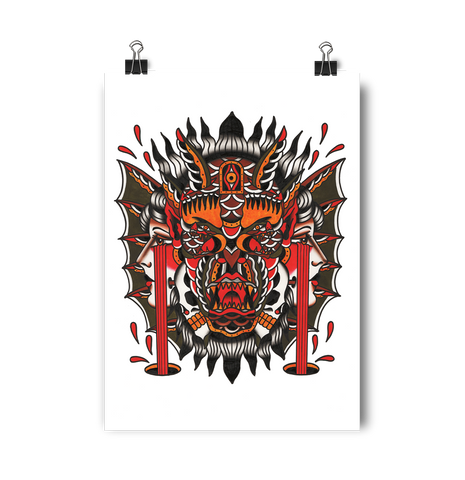 'Demon' Digital print by Shamus Mahannah printed by Few and Far Studio for Few and Far Co.