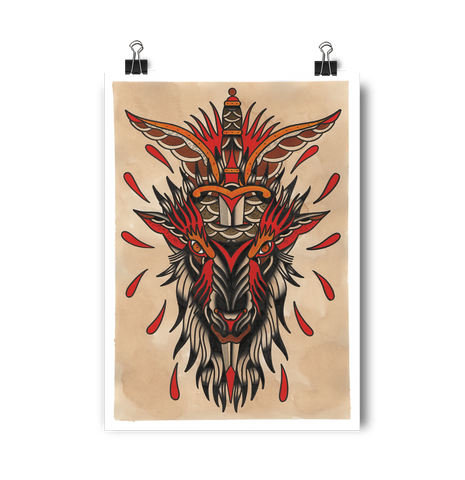 'Goat Head' Digital print by Shamus Mahannah printed by Few and Far Studio for Few and Far Co.