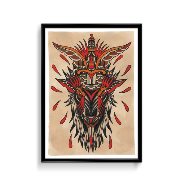 'Goat Head' Fine Art Giclee print by Shamus Mahannah printed by Few and Far Studio for Few and Far Co.