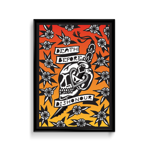 'Death Before Dishonour' Fine Art Giclee print by Steen Jones printed by Few and Far Studio for Few and Far Co.