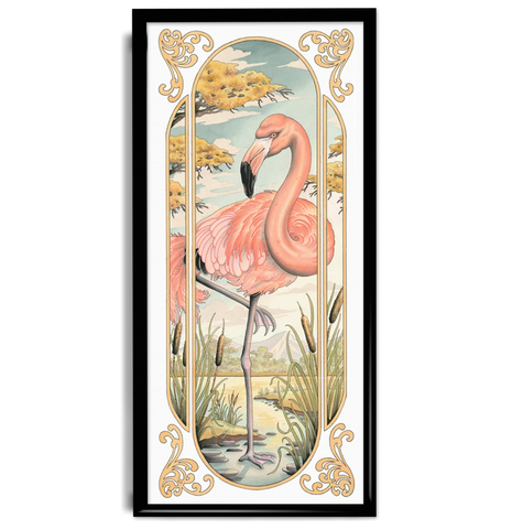 'Flamingo' fine art giclee print by tattoo artist Tom Bartley printed by Few and Far Studio for Few and Far Co.