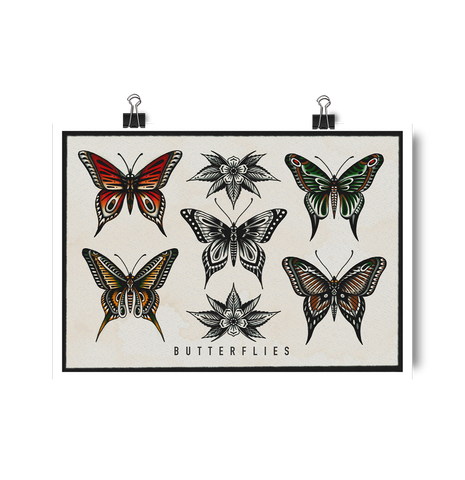 'Butterflies' Digital print by Tony Blue Arms printed by Few and Far Studio for Few and Far Co.