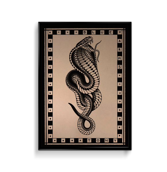 'Cobra 4' Fine Art Giclee print by Tony Blue Arms printed by Few and Far Studio for Few and Far Co.