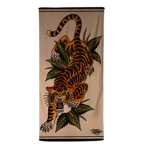 'Blue Arms Crawling Tiger' Beach Towel